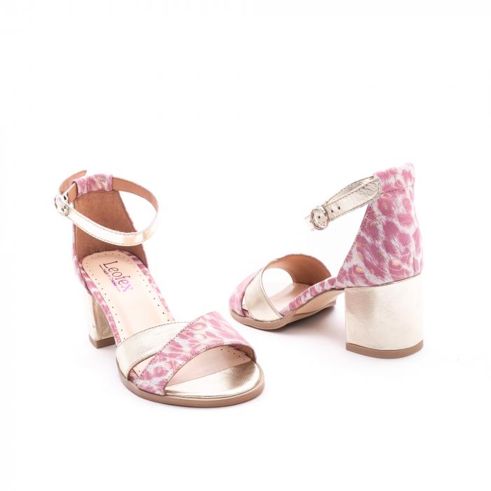 Sandale dama piele naturala Leofex 228, roz cu auriu 3