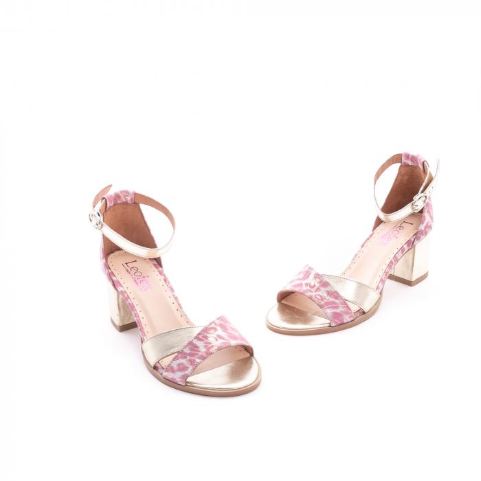 Sandale dama piele naturala Leofex 228, roz cu auriu 1