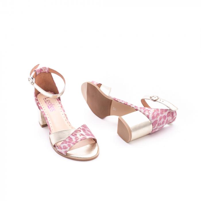 Sandale dama piele naturala Leofex 228, roz cu auriu 2