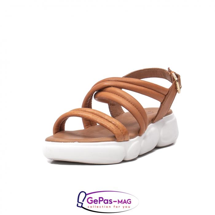 Sandale dama, piele naturala, L3MS-1083 coniac [0]