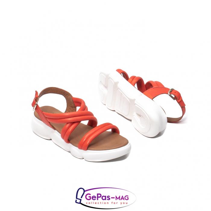 Sandale dama, piele naturala, L3MS-1083 Corai [3]