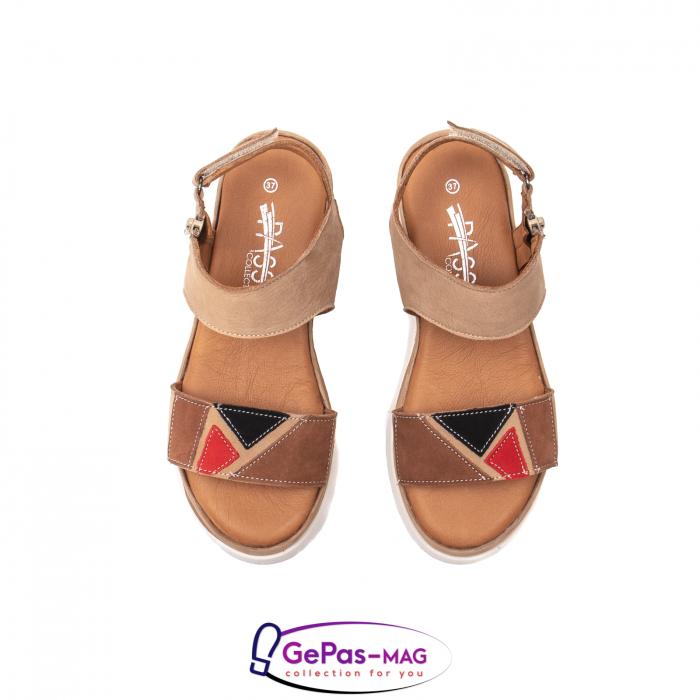 Sandale dama, piele naturala, O73046 bej 5