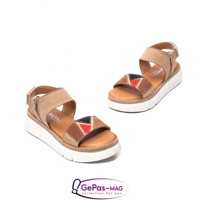 Sandale dama, piele naturala, O73046 bej 1