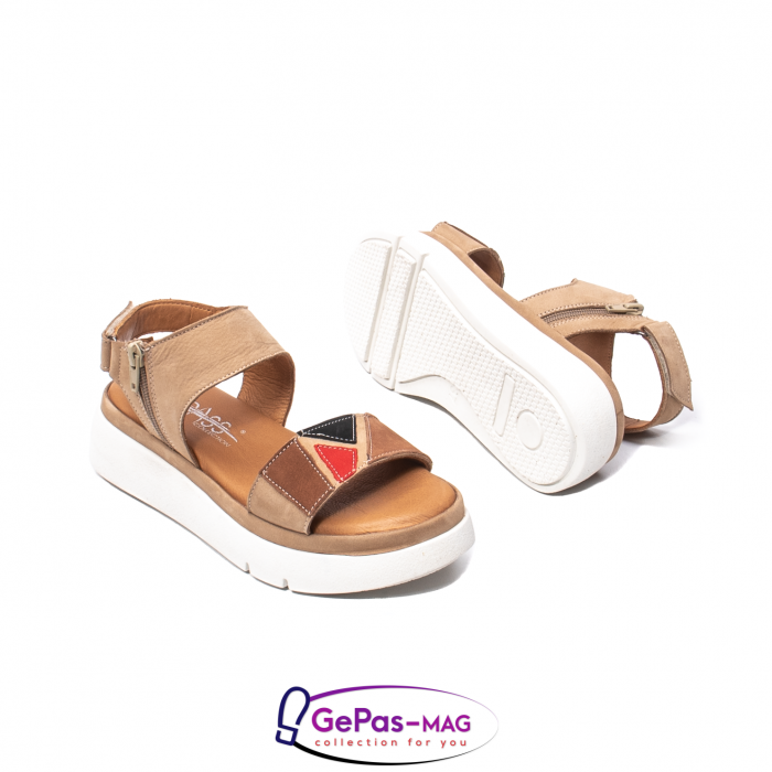 Sandale dama, piele naturala, O73046 bej 3