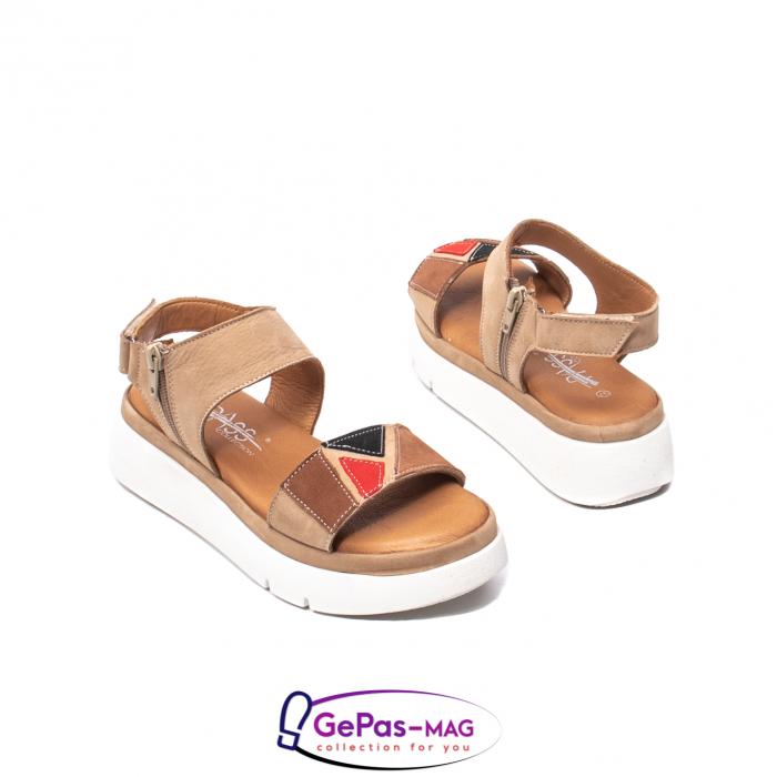 Sandale dama, piele naturala, O73046 bej 2