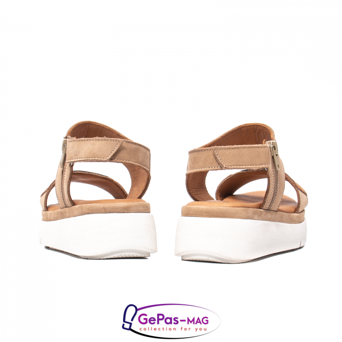 Sandale dama, piele naturala, O73046 bej 6