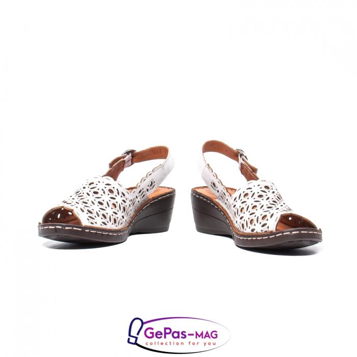 Sandale dama, piele naturala, O9409 Alb 4