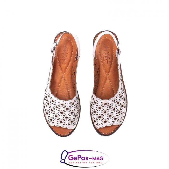 Sandale dama, piele naturala, O9409 Alb 5