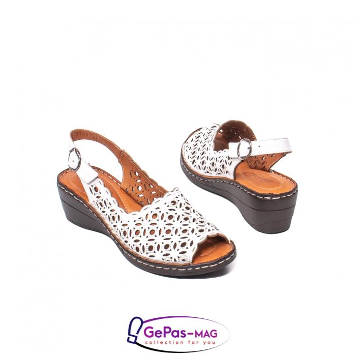 Sandale dama, piele naturala, O9409 Alb 2