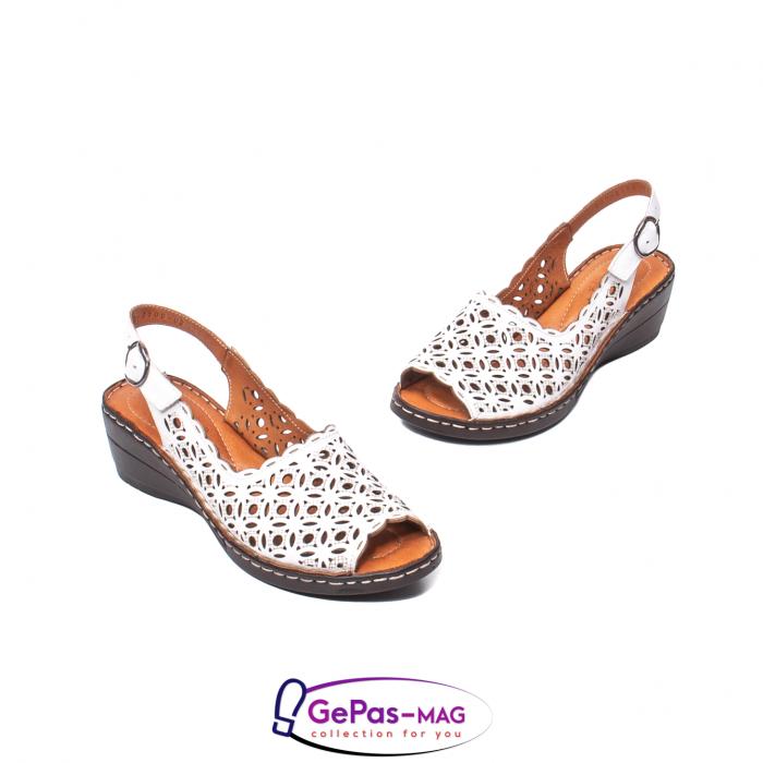 Sandale dama, piele naturala, O9409 Alb 1
