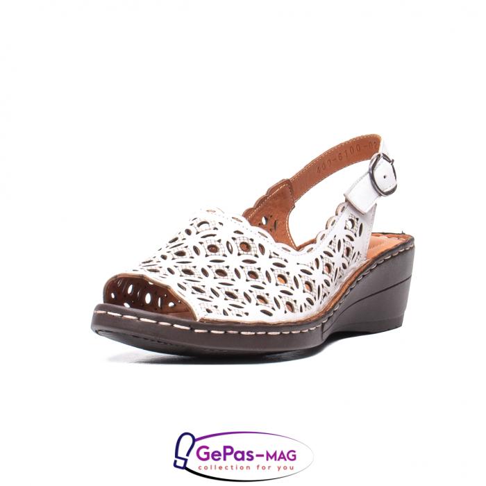 Sandale dama, piele naturala, O9409 Alb 0