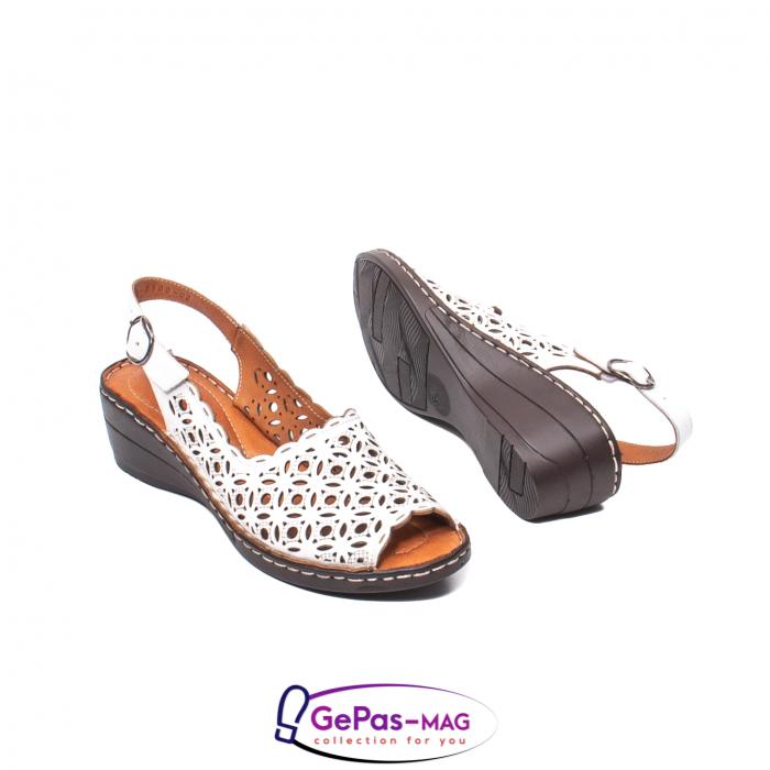 Sandale dama, piele naturala, O9409 Alb 3