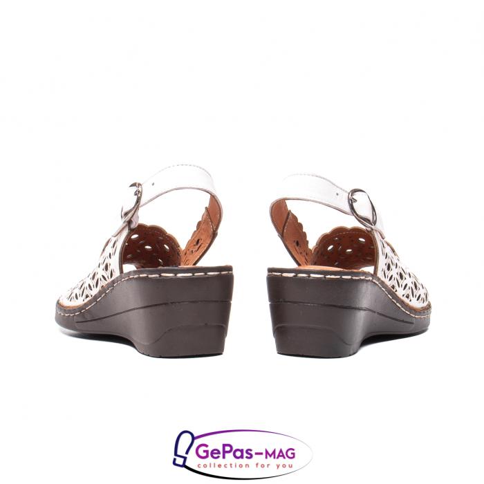 Sandale dama, piele naturala, O9409 Alb 6