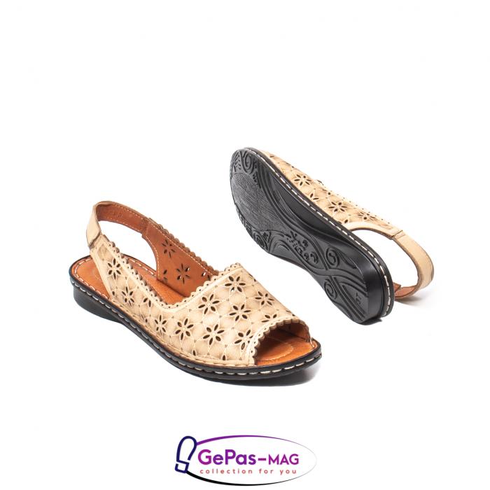 Sandale dama, piele naturala, O9409 bej 3