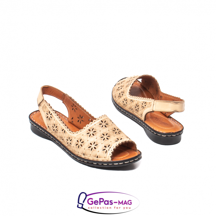 Sandale dama, piele naturala, O9409 bej 2