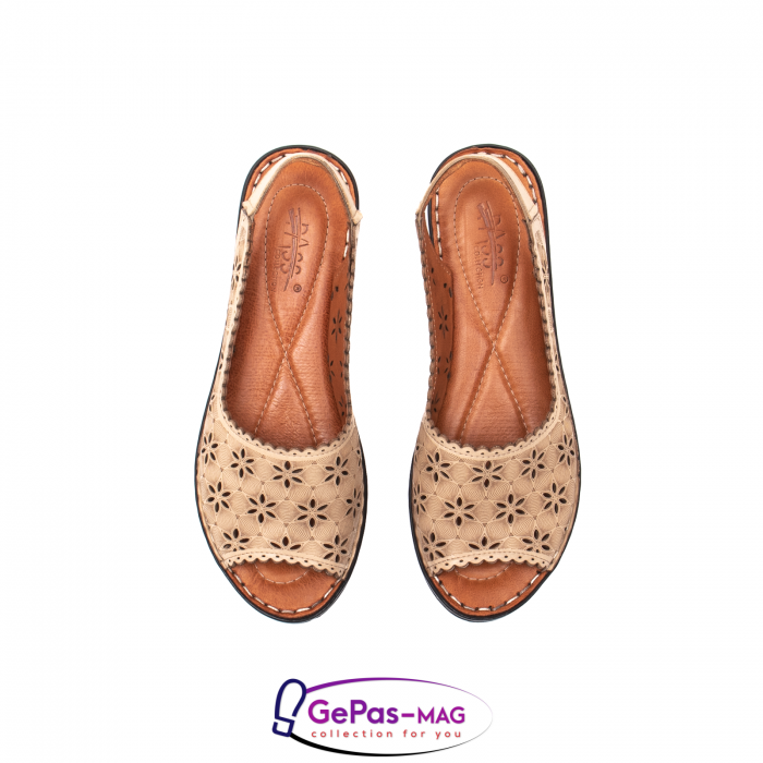 Sandale dama, piele naturala, O9409 bej 5