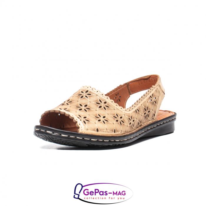 Sandale dama, piele naturala, O9409 bej 0