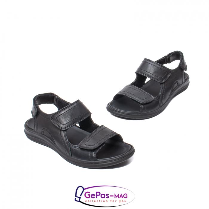 Sandale de barbat, piele naturala, IC702730 Negru 1