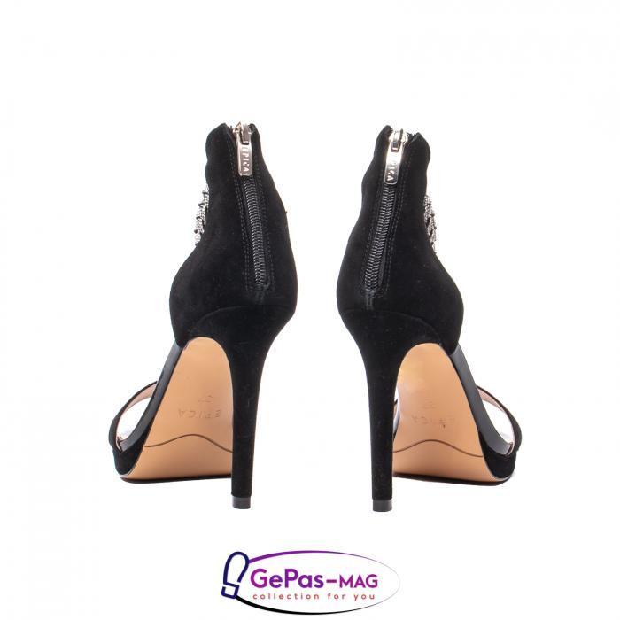 Sandale elegante dama, piele naturala de antilopa, JZA73 negru 6