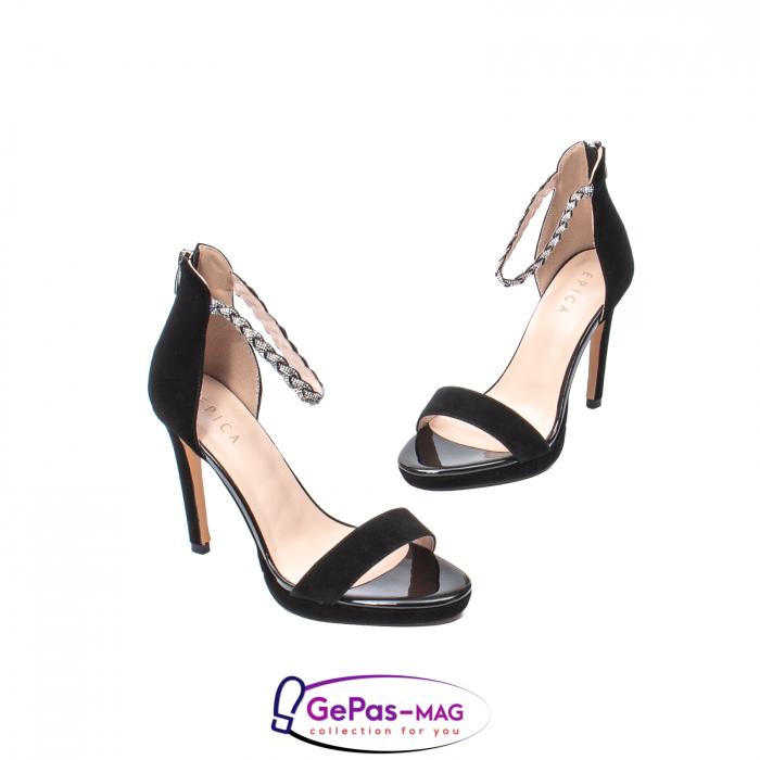 Sandale elegante dama, piele naturala de antilopa, JZA73 negru 1