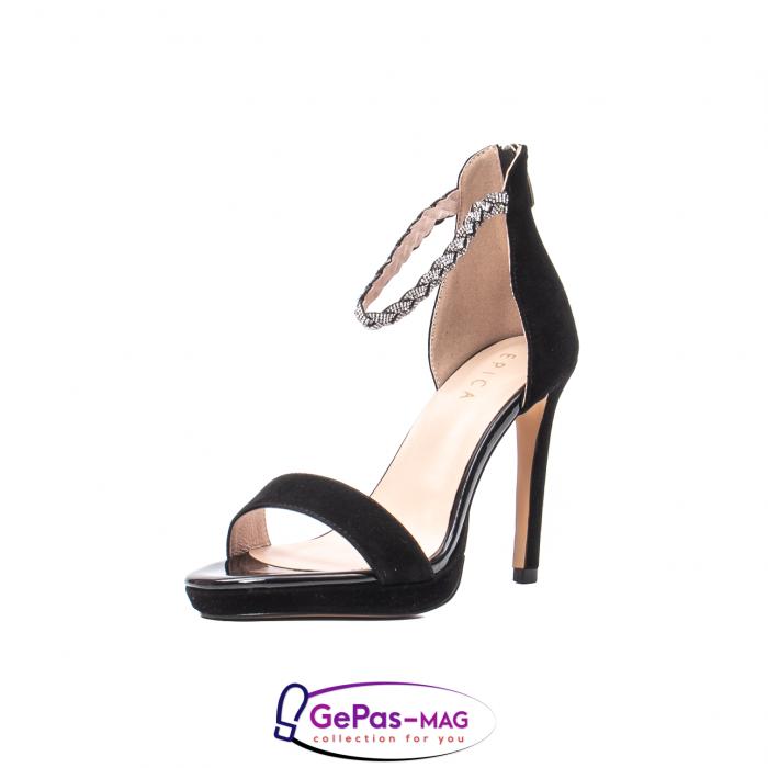Sandale elegante dama, piele naturala de antilopa, JZA73 negru 0