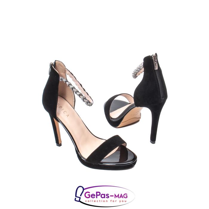Sandale elegante dama, piele naturala de antilopa, JZA73 negru 2