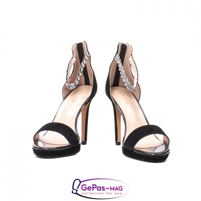 Sandale elegante dama, piele naturala de antilopa, JZA73 negru 4