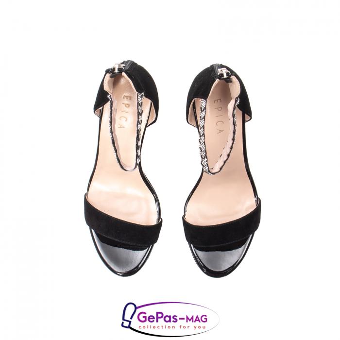 Sandale elegante dama, piele naturala de antilopa, JZA73 negru 5