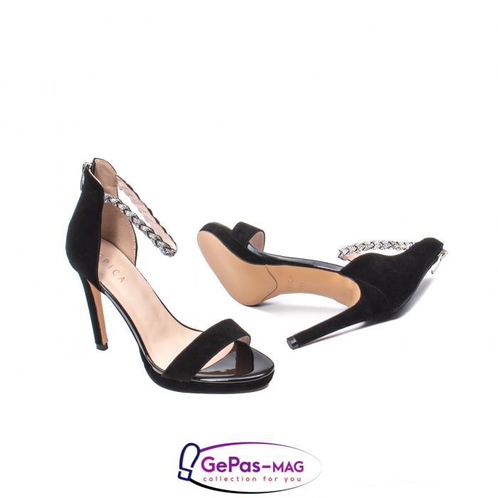 Sandale elegante dama, piele naturala de antilopa, JZA73 negru 3