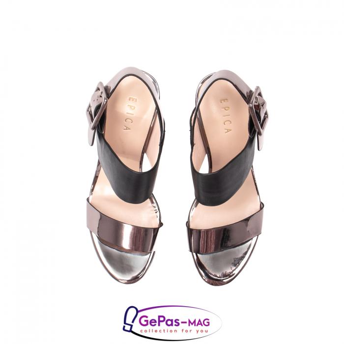 Sandale elegante dama, piele naturala, JZ81757 negru-gri metal 5