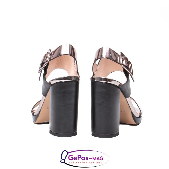 Sandale elegante dama, piele naturala, JZ81757 negru-gri metal 6