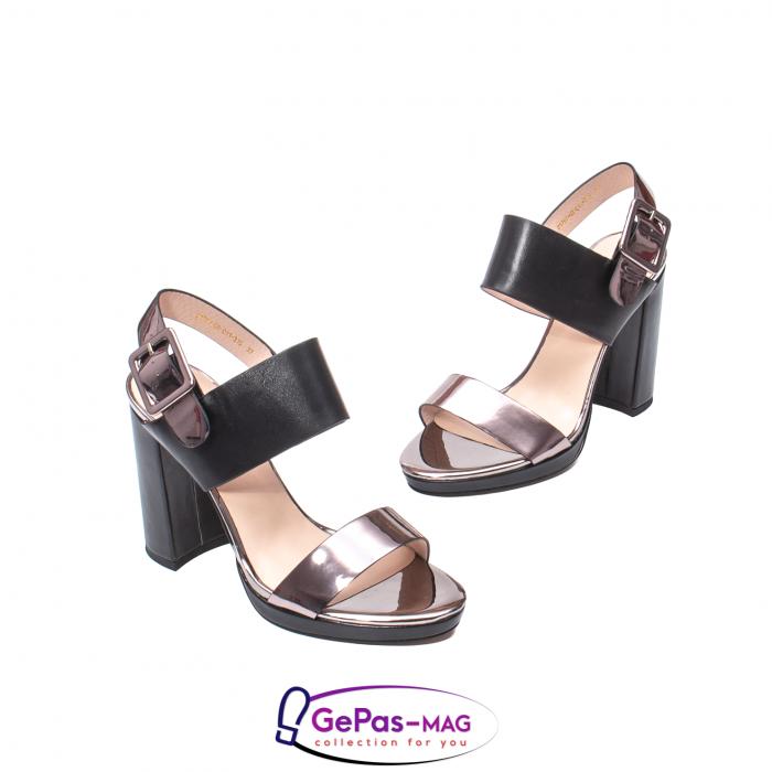 Sandale elegante dama, piele naturala, JZ81757 negru-gri metal 1