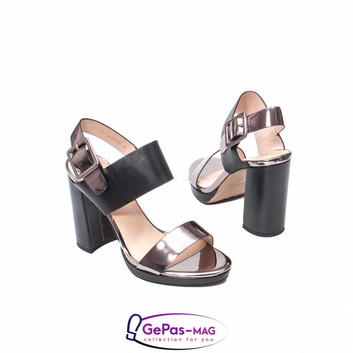 Sandale elegante dama, piele naturala, JZ81757 negru-gri metal 2
