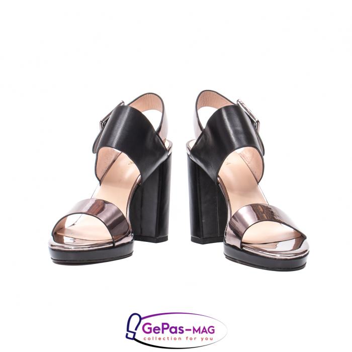 Sandale elegante dama, piele naturala, JZ81757 negru-gri metal 4
