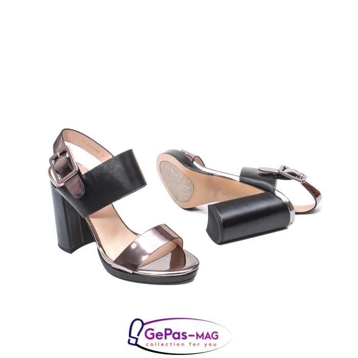 Sandale elegante dama, piele naturala, JZ81757 negru-gri metal 3