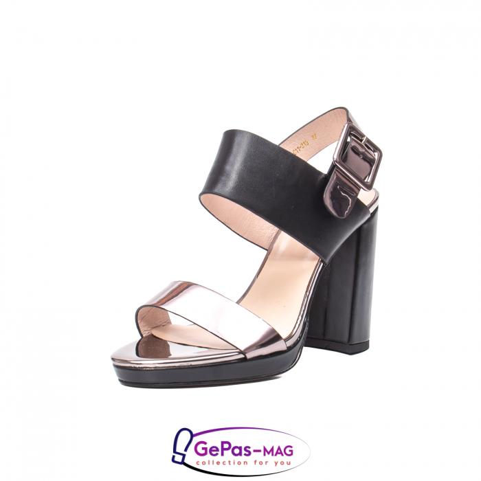 Sandale elegante dama, piele naturala, JZ81757 negru-gri metal 0
