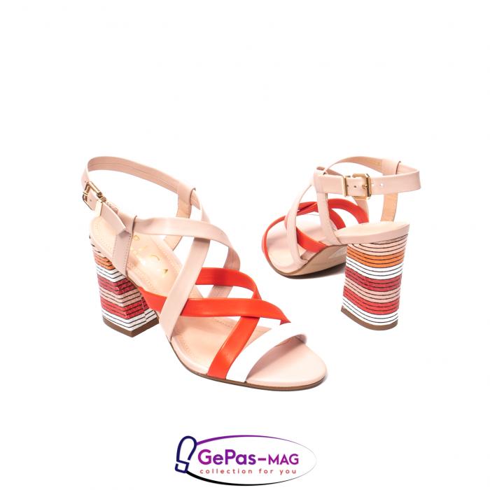 Sandale elegante dama, piele naturala, OE10012 nude/corai [2]