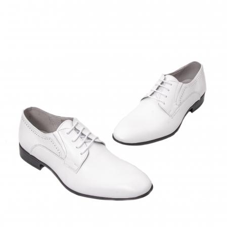 Pantofi barbati eleganti piele naturala Catali 192545 alb1