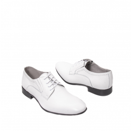 Pantofi barbati eleganti piele naturala Catali 192545 alb2