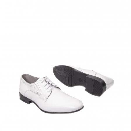 Pantofi barbati eleganti piele naturala Catali 192545 alb3