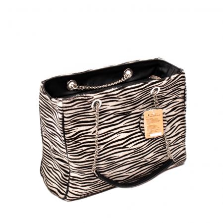 Poseta blana naturala ,Zebra By YSL0