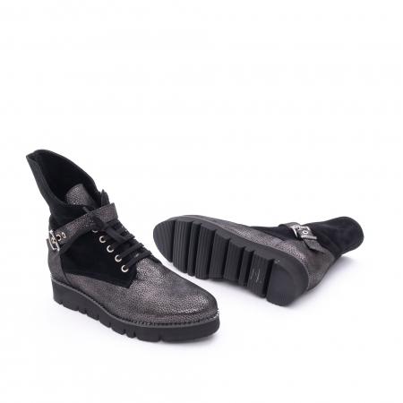 Ghete dama casual cu talpa groasa Nike Invest G1159, negru-argintiu2