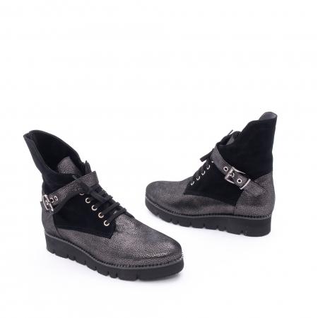 Ghete dama casual cu talpa groasa Nike Invest G1159, negru-argintiu1