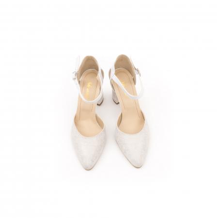 Pantofi dama eleganti decupati piele Nike invest 1207, alb auriu5