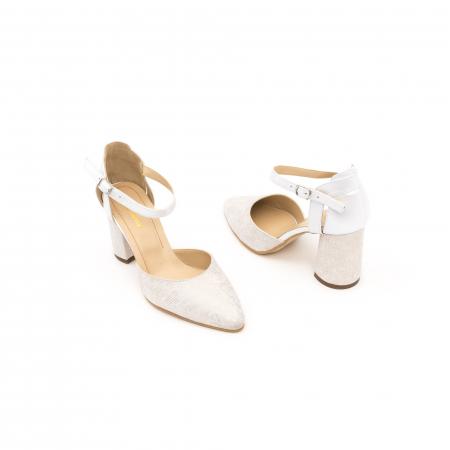 Pantofi dama eleganti decupati piele Nike invest 1207, alb auriu2