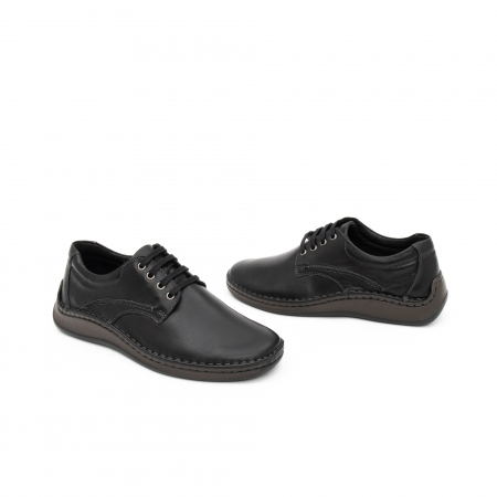 Pantofi barbati casual piele naturala, Leofex 918, negru1