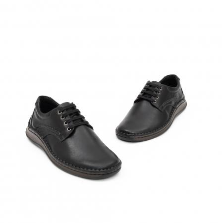 Pantofi barbati casual piele naturala, Leofex 918, negru2