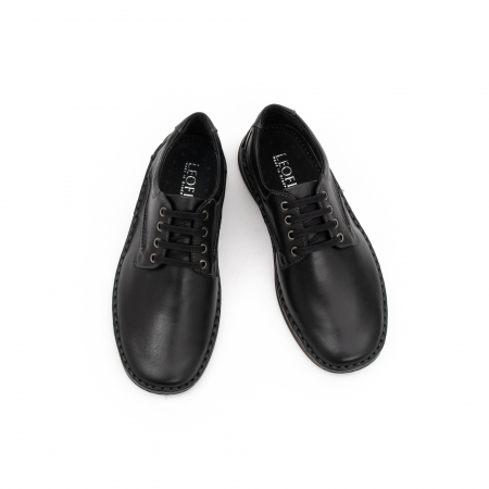 Pantofi barbati casual piele naturala, Leofex 918, negru4