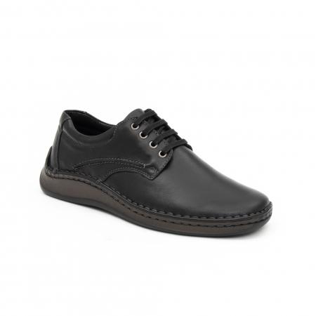 Pantofi barbati casual piele naturala, Leofex 918, negru0