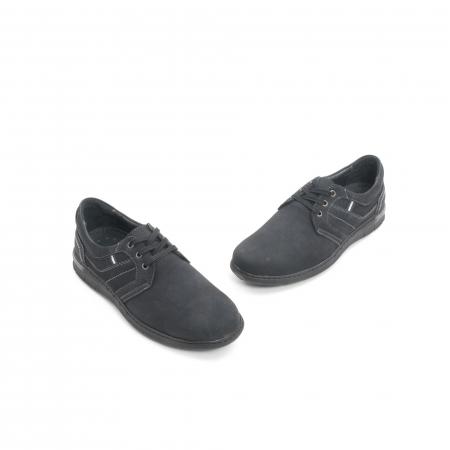 Pantofi barbati casual piele naturala nabuc Leofex 521, negru1